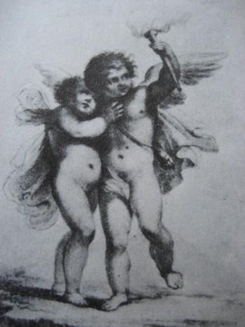Амуры. Акварель из альбома неизвестного. 1810-е годы