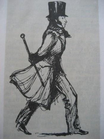 Пушкин, шагающий по Невскому проспекту. Рисунок Н. В. Кузьмина. 1930-е годы