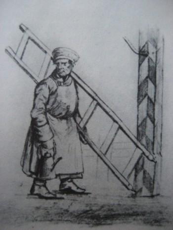 Фонарщик. Акварель из альбома неизвестного художника. 1830-е годы