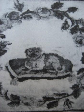 Мопс. Вышивка по атласу из альбома А. Гуриеловой. 1810-е годы
