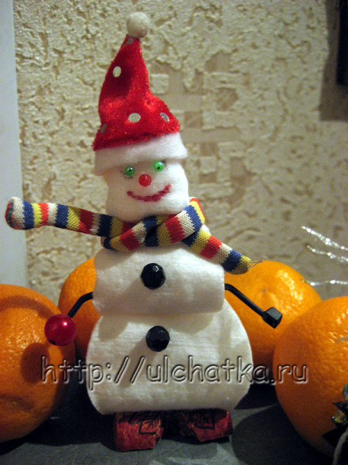 Снеговик из ватных дисков своими руками объемный