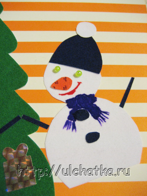 Детская новогодняя открытка 2014 со снеговиками своими руками