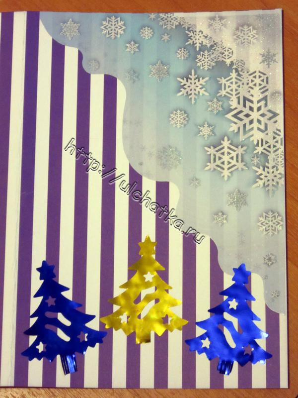 Снежинки на открытке