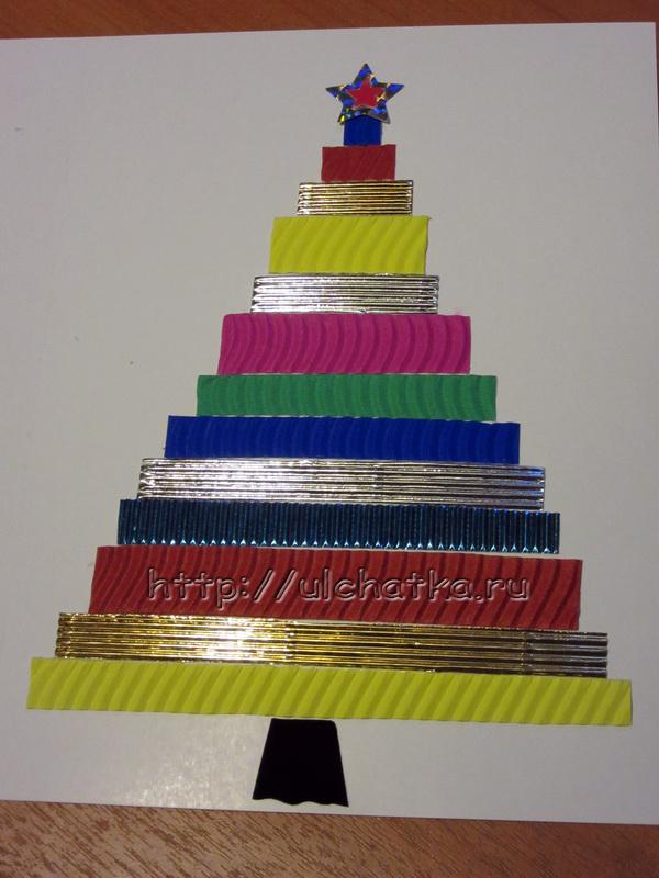Как сделать ёлку из гофрированного картона на открытку